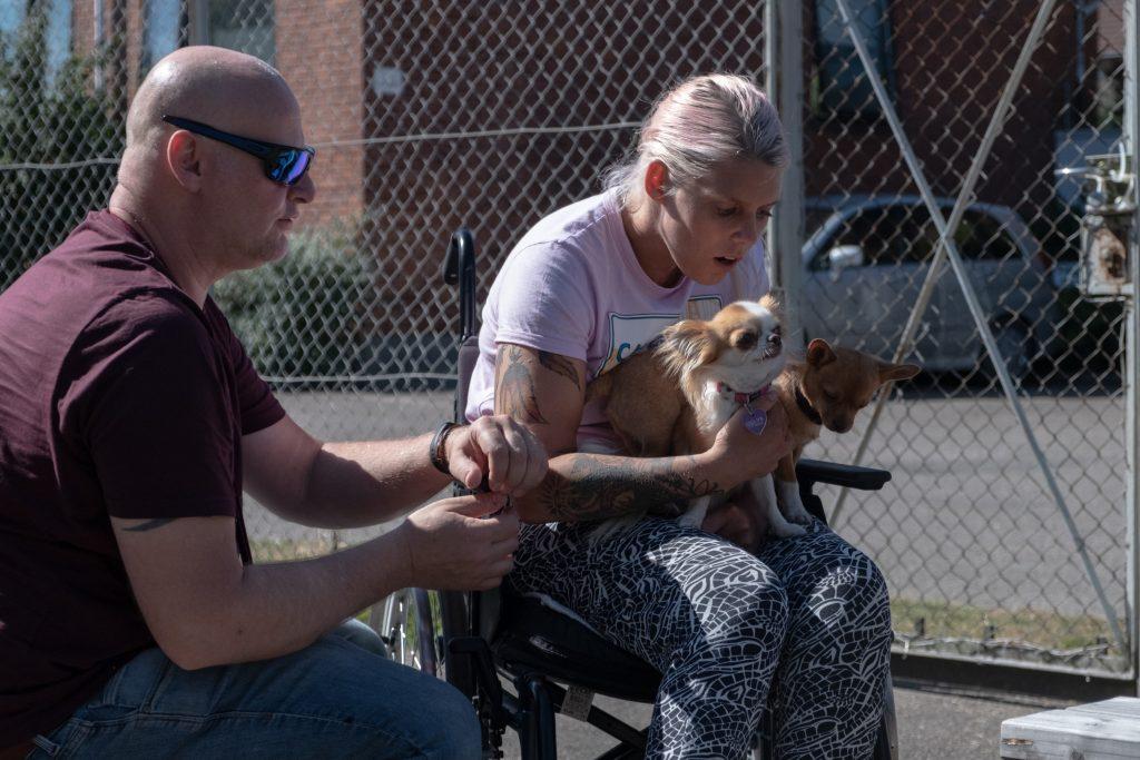 kvinde i kørestol med hunde