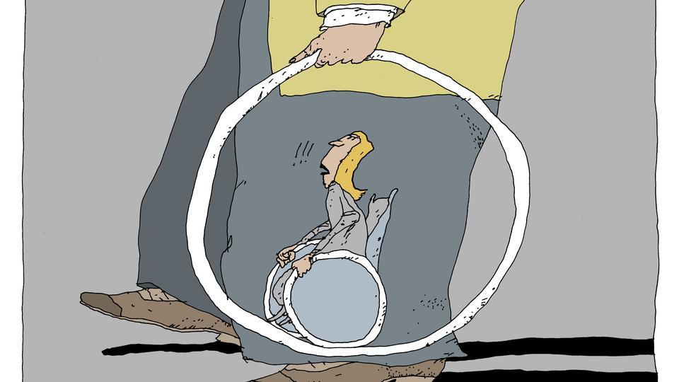 tegning af kvinde i kørestol