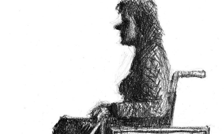 tegning kvinde i kørestol